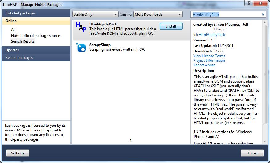 Extraction de données de pages web à l'aide de HTML Agility Pack